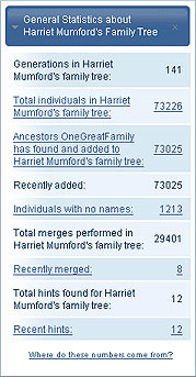 See a quick statistical overview of your family tree